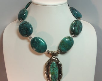 """Turquoise beads with sterling silver beads,pendant & lobster claw 17 1/2"""""""