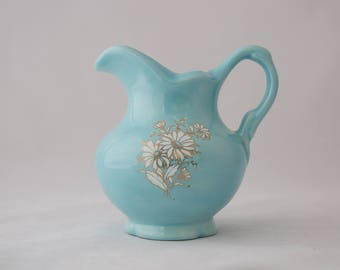 Mid Century Light Blue and White Daisy Flower Vase Pitcher