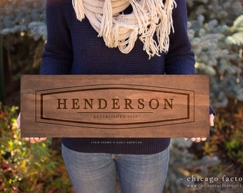 Personalized Wood Sign with Last Name and Established Date, Housewarming Gift, Wedding Gift, Custom Wood Sign, Personalized Gift (GP023)