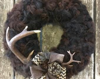 Unique wool wreath, alpaca wool wreath, winter wreath, rustic wreath, natural wreath, all year round wreath, neutral wreath