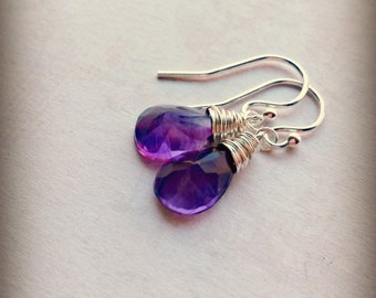 Amethyst Earrings AA + Gemstones Sterling Silver Jewellery Gifts for Her Birthstone Jewellery