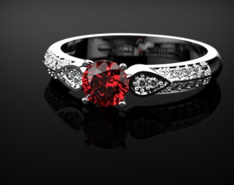 Ruby Ring White Gold Engagement Ring White Gold Engagement Ring Ruby in White Gold White Gold Ruby Ring July Birthstone White Gold Ring