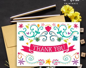 Fiesta Thank You Card | Fiesta Thank You Note | 3.5 x 5 | Printable Instant Download