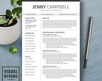 Resume Template, CV Template, Cover Letter, Word, Mac and PC, Professional, Creative, Modern Teacher Resume, Instant Download, JENNY