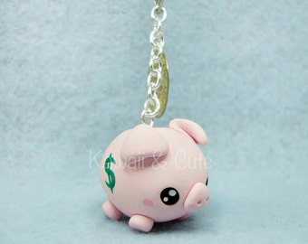 Keychain/Cellphone Strap/Necklace - Piggy Bank and Coin