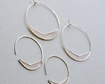 Paper Chevron Hoops : Sterling Silver with a Window of Cast Paper, Sealed, 2 Sizes