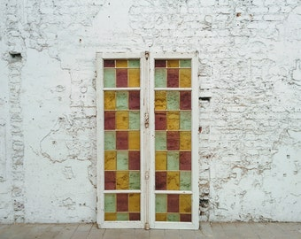 Sold antique French colored double flying, weathered, deco Bohemian shabby chic, stained glass