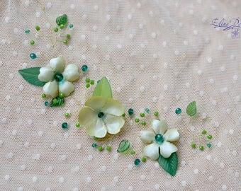 Green hair vine Emerald crystal hair back head piece Floral green vine leaves head wreath Emerald wedding piece back crown