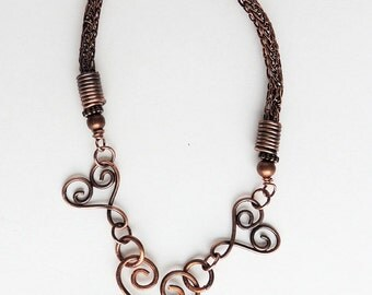 Handmade Copper Viking Knit Necklace with Lampwork Heart Bead