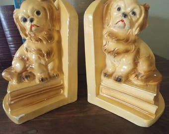 Vintage Chalkware Dog Bookends-Spaniel Puppies