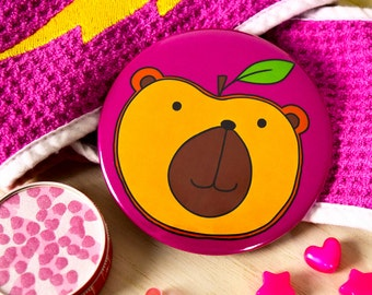 Cute Bear Pocket Mirror-Funny Animal Gift-Peach/Bear Compact Mirror-Funny Gift for her/students/daughter/teen girls/bear lovers-Pink Mirror