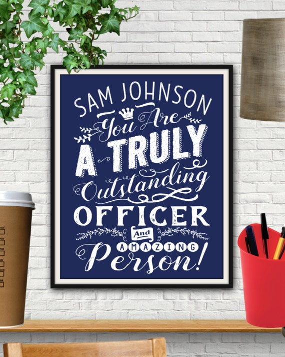 Personalized Outstanding Officer Print Police Officer Gifts
