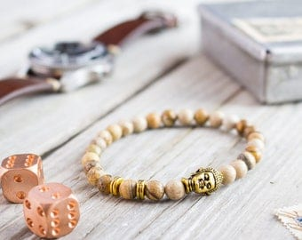 6mm - Brown jasper stone beaded stretchy bracelet with gold Buddha head, custom made yoga bracelet, mens bracelet, womens bracelet