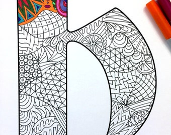 """Letter H Zentangle - Inspired by the font """"Deutsch Gothic"""""""
