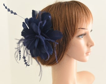 Wedding Fascinator, Bridal Hair Comb,Wedding Hair Comb,Feather Flower Comb Fascinator 30A (Navy Blue)
