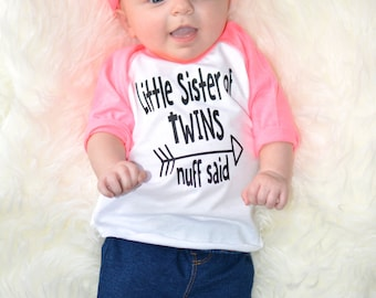 Little Sister of Twins, Toddler Clothes, Baseball, Raglan, Big Sister, Family shirts, Sister of Twins, Twins, Family Photo, Little Sister