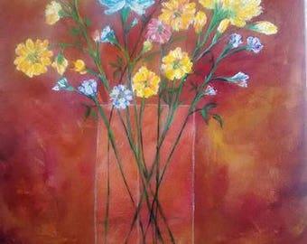 Original painting,floral,vase flower,still life,art,contemporary art, fine art, wall deco