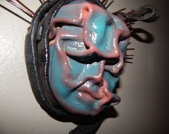 LADY LIBERTY, antique found object, wet molded leather wall sculpture, mixed media, contemporary art