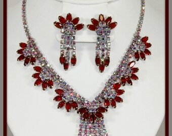 VIntage Aurora Borealis and Garnet Rhinestone Demi-Parure,Vintage Rhinestone Demi-Parure,Vintage Rhinestone Jewelry Set,Vintage Rhinsetone