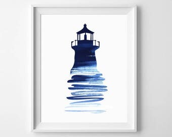 Sea Wall Art, Lighthouse Print, Lighthouse Art, Ocean Wall Print, Sea Wall Decor, Lighthouse Printable, Seaside Print, Lighthouse Wall Art