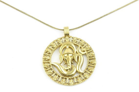 Elephant Om Brass Necklace, Ganesh OM Necklace, Ganesha pendant, Mandala Pendant, Yoga Jewelry, Festival Jewelry, Ethnic, Tribal, Spirtual