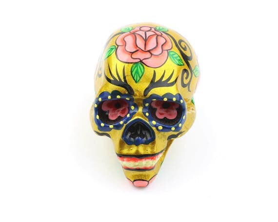 Small Sugar Skull Decor, Hand Painted Skull, Mexican Sugar Skull, Home Decor, Day of the Dead, Decorative Skull