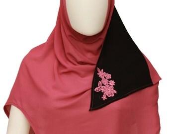 Georgette scarf,Plain hijab,Silk headscarf,Summer headscarf,Stitched scarf,Islamic scarf,Instant hijab,Lightweight veil,Soft cowl,