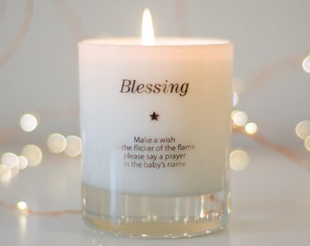 Baptism Gift , Baptism Candle , Christening Gift , Gift For New Baby , Scented Candle , Make A Wish , Make A Wish For A Blessing