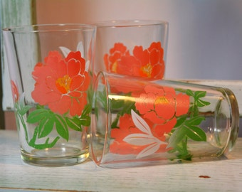 Swanky Swigs, Peanut Butter, Jam, Glasses, Pink and Green, 1950s Glassware