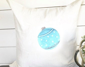 Blue Christmas Ornament 18 x 18 Pillow Cover // Christmas / Holiday / Gift / Throw Pillow / Accent Pillow
