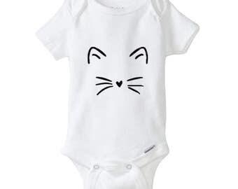 Kitten Baby - Onesie - Baby, Toddler, Infant, tshirt, gift, shower, face