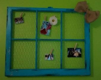 Vintage 6 Pane Window Chicken Wire Memo Board