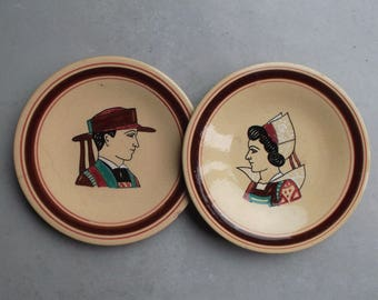 old Breton plates Keraluc Quimper - wall plates or collection, Quimper faience, breton couple