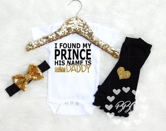 Fathers Day Gift, I Found My Prince, Daddy's Girl Outfit, Baby Girl Daddy Clothes, Daddy Daughter Clothing, I Love Daddy, Bodysuits