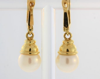 Antique Lampost Drop And Dangle Earrings- 14k Yellow Gold