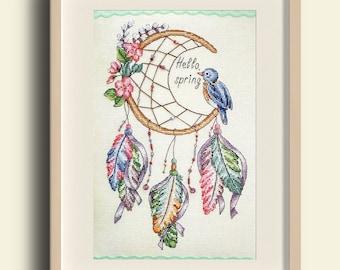 Dreamcatcher cross stitch - Hello spring cross stitch -PDF Instant Download-cute cross stitch-modern cross stitch pattern-spring embroidery