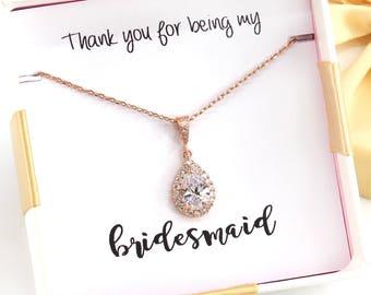 Wedding Necklace Rose gold Teardrop Zirconia Necklace Bridesmaid Necklace Wedding Jewelry Bridesmaid gifts Bridesmaid Jewelry Bride necklace