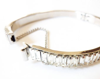 Rhinestone Baguette Bracelet   Vintage Bridal Jewelry   Silver 1940s Bangle with Security Chain   Antique Wedding Accessories