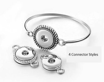 Snap Bracelet Wire Hook Bangle w/Connector Choice, Silvertone.  Extra Connectors Available. Fits 18-20mm Gingersnaps, Magnolia & Vine B17-V