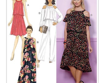 Sewing Pattern for Misses' Cold-Shoulder or Sleeveless Dresses and Jumpsuit, Butterick Pattern 6452, Plus Sizes Available, Spring Dresses