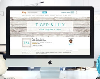 Shiplap Etsy Shop Banner Custom, Whitewash Shop Banner, Wood Shop Banners, Rustic Custom Shop Icons, Facebook Cover Photo, Etsy Shop Set
