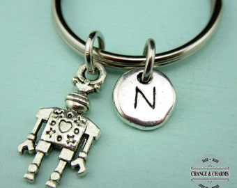 Robot Keychain, Robot Charm, Robot, Custom Keychain, Personalized Gift, Silver Plated Initial Charm, Monogram, Friend Gift, Keychain, Gift