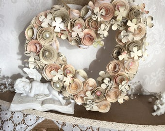 Heart wreath-love heart- paper flower wreath-wedding-first anniversary-engagement-birthday-new home-forever gift for her-mother of the bride