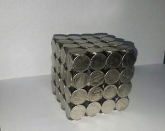 Coin Sculpture. Metal sculpture ornament. Nickel cube.