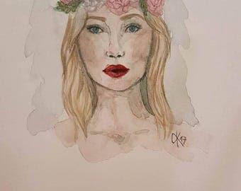 Original watercolor drawing - portrait - Watercolour - unique - girl - flowers