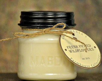 Fresh Picked Wildflowers - Soy Candle - Wanderlust Scents - Grandma Bea's Farmhouse Collection - 8oz Mason Jar Gift - Natural Cotton Wick
