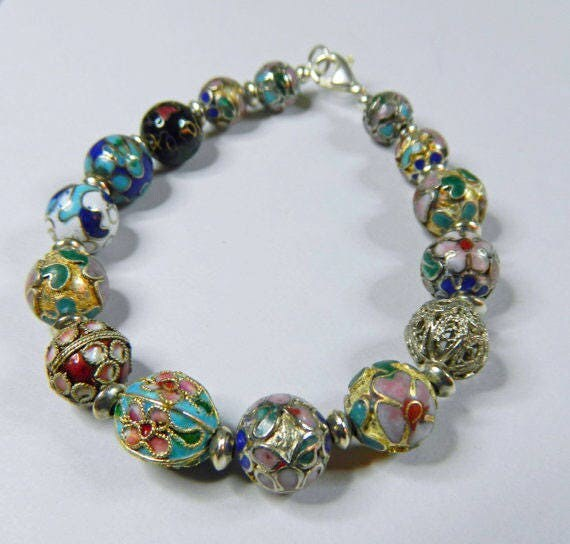 multi colored cloisonne beaded bracelet by ajaboutique on etsy