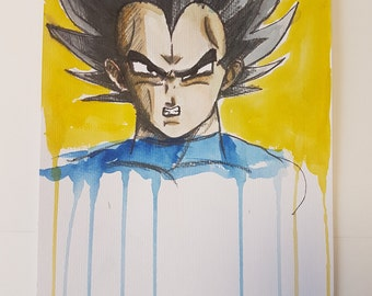 Vegeta badly drawn// DBZ inspired // Dragonball Z// Painting// Watercolours// Anime// Manga// Oliskyless