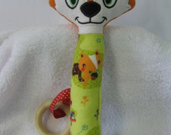 Rattle toy Fox, teething ring