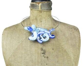 Blue Glass Necklace, Blue Glass Collar Necklace, Silver Wire Necklace, Blue and Silver Necklace, Chunky Blue Necklace